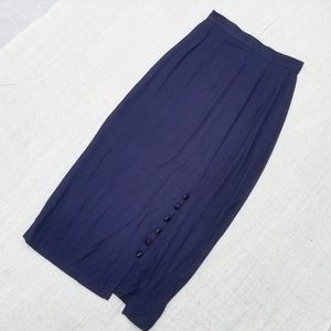 Vintage Tea Length Navy Skirt with Slit and Button